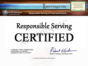Responsible Serving<sup>&reg;</sup> allows you to print your offical alcohol traning certificate online!